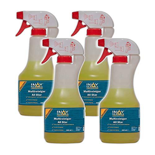 INOX® All Star Multi Cleaner, 4 x 500ml - nettoyant universel pour les textiles, les tissus d'ameublement et les plastiques