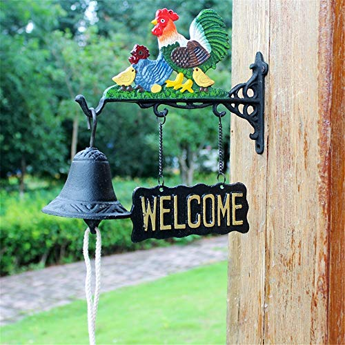 Vintage Bell Cast Iron Wandmontage Vintage Cast Iron Chicken deurbel huis wanddecoratie Wall Mounted Voordeur Bell voor Garden Farmhouse Yard (Color : Multi-colored, Size : Free size)