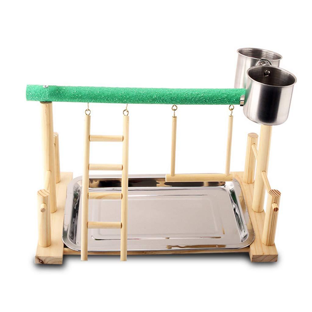 Gjyia Wood Parrot Playstand Perch Playstand Gimnasio Stand Corralito Escalera con Tazas de alimentación Owl: Amazon.es: Hogar