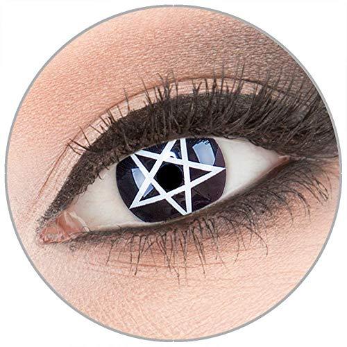 Farbige schwarze 'Pentagram' Kontaktlinsen von 'Evil Lens' zu Fasching Karneval Halloween 1 Paar schwarze weiße Crazy Fun Kontaktlinsen mit Behälter ohne Stärke