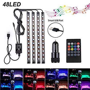 Car Lights Interior Waterproof 48 Car LED Strip Lights Including Cigarette Charger USB Plug and 8 Color RGB Remote Control and Music Sensor Under The Dash Lighting Kits Flexible Neon Lights for Cars