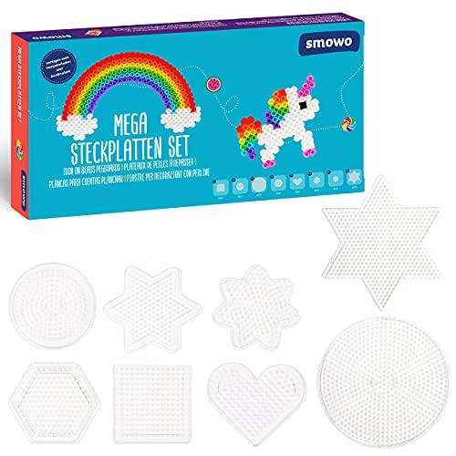 Smowo® - 8 Bügelperlen Platten in vielen Formen - Steckplatten Set - Stifftplatten - Rund, Stern, Viereck, Sechseck, Herz, Blume