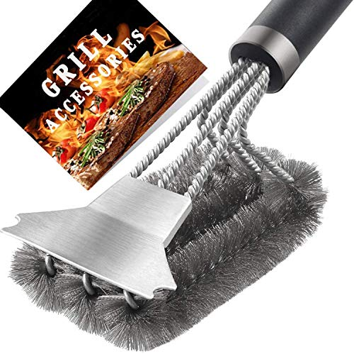Belita Amy Grill Brush and Scraper BBQ Cleaner Accessories Stainless Steel Barbecue Triple Scrubber Cleaning Brush for Weber Gas/Charcoal Grilling Grates