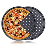 Destinymd Pack of 2 Pizza Pans With Holes 13 inch - Carbon Steel Non Stick Coating Perforated Round...