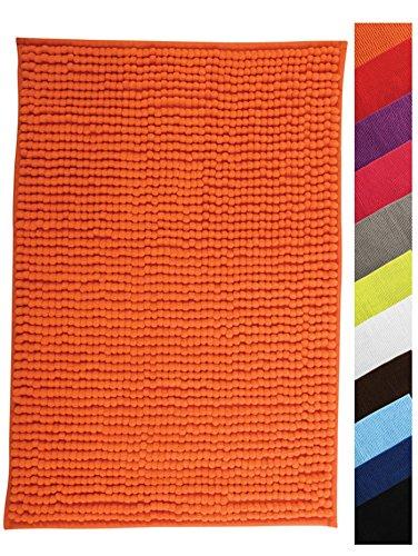 """MSV Tapis de Bain Tapis de Douche """"Chenille"""" Poils Longs Microfibres Moelleux Anti-dérapant 40x60 cm Orange"""