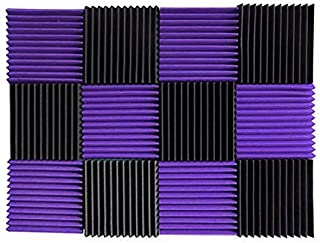 (12 Pk) Purple / Charcoal acoustic foam tiles soundproofing foam panels sound insulation soundproof foam padding sound dampening Studio sound proof padding 1
