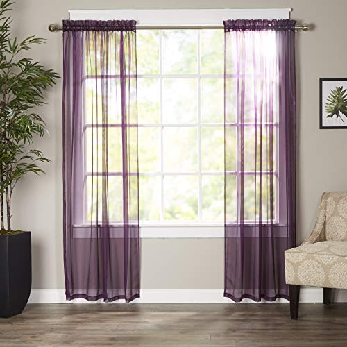 Elegant Comfort Luxury Sheer Curtains, Window Treatment Curtain Panels with Rod Pocket for Kitchen, Bedroom and Living Room (60 x 84-inches Long, Set of 2), Purple
