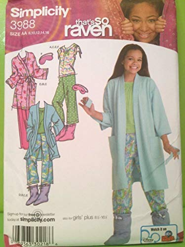 Simplicity That's So Raven Pajamas, Robe, Booties, and Eyemask Sewing Pattern # 3988