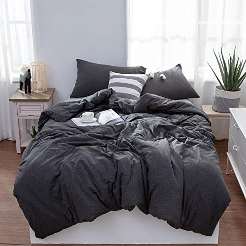 LIFETOWN Grey Duvet Cover Queen, Jersey Knit Cotton Duvet Cover Set, 1 Duvet Cover and 2 Pillowcases, Super Soft and Easy Care (Full/Queen, Dark Gray)