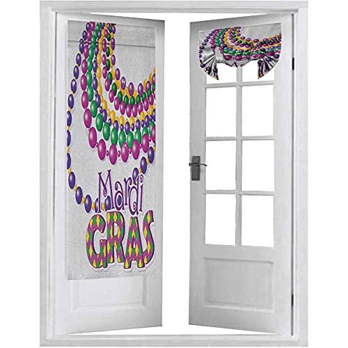Persianas francesas para puerta, collares de cuentas coloridas con diseño de caligrafía Mardi Gras, 1 panel de 66 x 172 cm, cortinas opacas para puerta de privacidad, multicolor