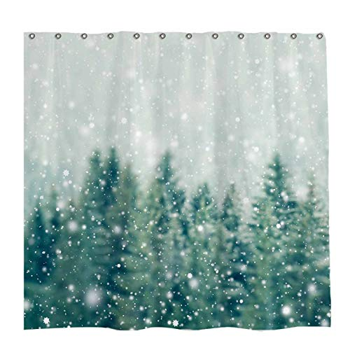 Allenjoy 72x72 inch Winter Snowflake Shower Curtain Set with 12 Hooks Nature Green Forest Scenery Bathroom Curtain Durable Waterproof Fabric Bathtub Sets Home Decor