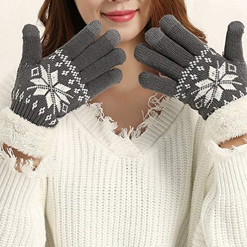 JFCUICAN Handschuhe Zweischichtigen Winterhandschuhe for Frauen Snowflake Strickmuster Vollfinger Touch Screen Handschuh (Color : Grey, Gloves Size : One Size)