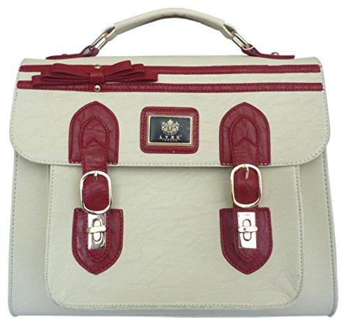 Leather School LYDC Satchel Womens Saddle Messenger Bag - Delorse ... 1d7a812559a13