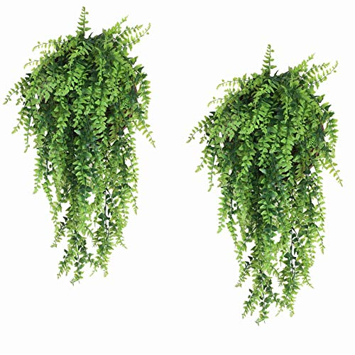 Fake Fern, Artificial Ferns for Outdoors Boston Ferns Hanging Plant Faux Greenary Vine Outdoor UV Resistant Plastic Plants for Wall, Wedding Party Decor-2 pcs