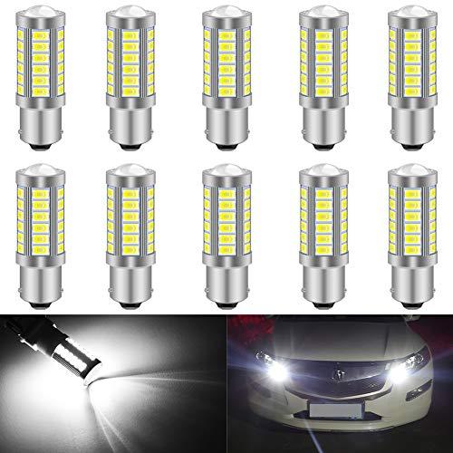 KATUR 10pcs BAU15S 7507 1156PY PY21W 5630 33-SMD Blanc 900 Lumens 8000K Super Bright LED Tourner Le Frein d'arrêt Signal Signal Lampe Ampoule 12V 3.6W