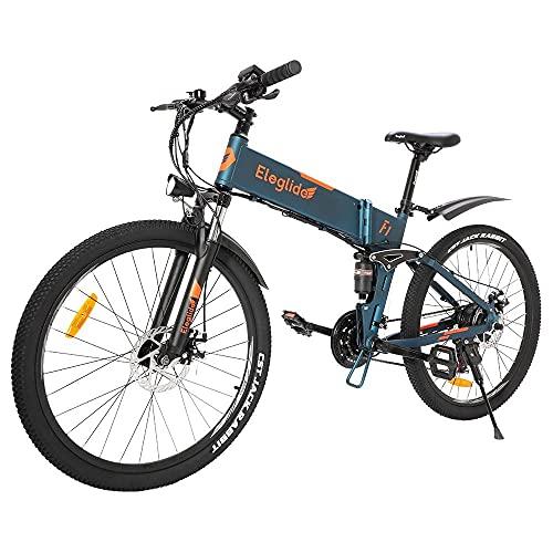 """Bicicleta de montaña Plegable Eleglide F1, Bicicleta Adulto Bicicletas Mujer montaña de 26"""", batería extraíble 10,4 Ah, Shimano transmisión Delantero y Trasero - 21 velocidades"""