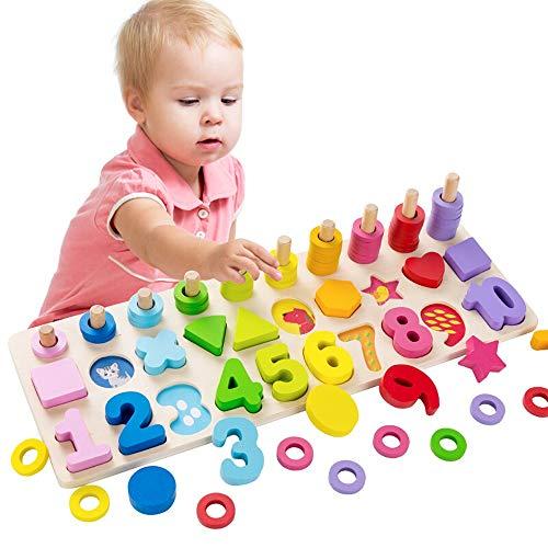 Kikioo Puzzle Spielzeug Holz Mathematische Blöcke Sorting Rätsel Brett Early Education Form Sorter Zählen Zahlen 0 bis 10 Ring Stacker Spielzeug Kleinkinder Fun Activity Educational Learning-Spielzeug
