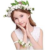JZK® Bianca coroncina fiori capelli con bracciale fiore per sposa damigella d'onore bambina donna per festa matrimonio fotografia corona fiori ghirlanda fiori fascia fiori tiara fiori