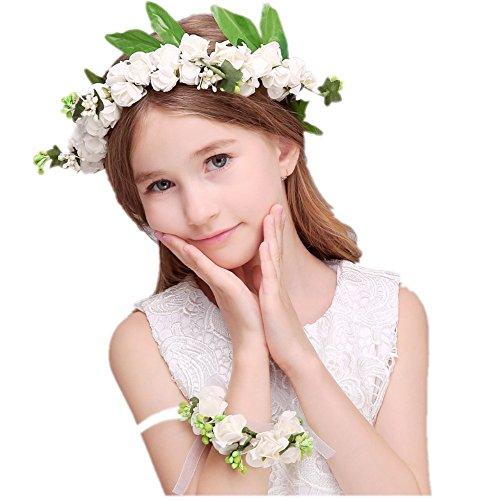 JZK Witte bloem krans hoofdband bloemenkroon bloem kroon voor haar bloemhaarkroon met bloem armband voor bruidsmeisjes kind bloemenmeisje bruiloft fotografie