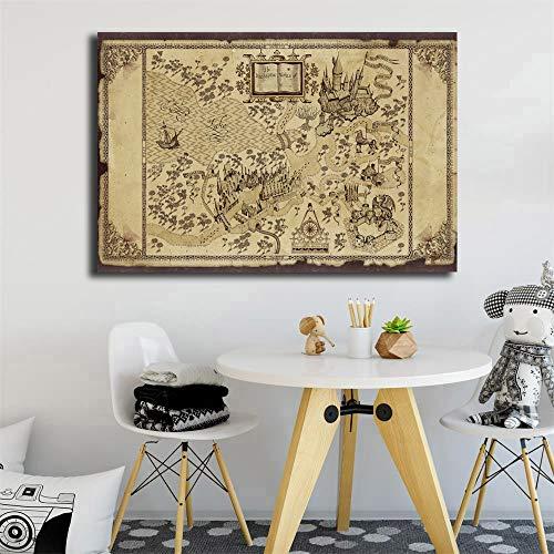 KWzEQ Dekorative Malerei Film Leinwand Malerei Eule Schule Poster Wohnzimmer Home Decoration Wandbild,Rahmenlose Malerei,60X90cm