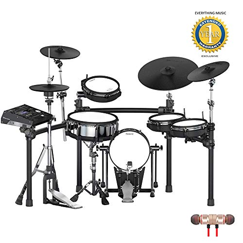 Roland V-Drums TD-50KV 5-piece Electronic Drum Set Includes Free Wireless Earbuds - Stereo Bluetooth In-ear and 1 Year Everything Music Extended Warranty