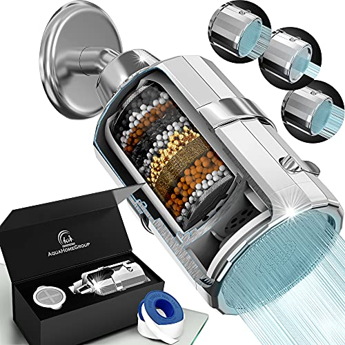 AquaHomeGroup Shower Head Filter - High Pressure Luxury Filtered 15 Stage For Hard Water Vitamin C + E Removes Chlorine and Impurities - 2 Cartridges Included Wall-Mounted Showerhead Output - 3 Modes