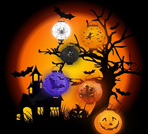 Halloween Jack-O Lanterns Decorations,with LED Light Hanging Outdoor Yard Party Decor,pack of 6