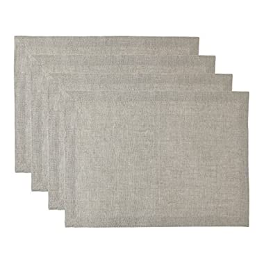 Solino Home 100% Pure Linen Athena Placemats, Set of 4 Natural Fabric Handcrafted Machine Washable Placemats, 14 x 19 Inch Natural