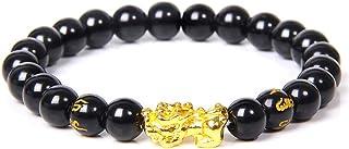 Branets 12 mm Bracciale di Feng Shui Perline Braccialetto Cinese con Intagliato a Mano Nero Braccialetto di Perle di Amule...