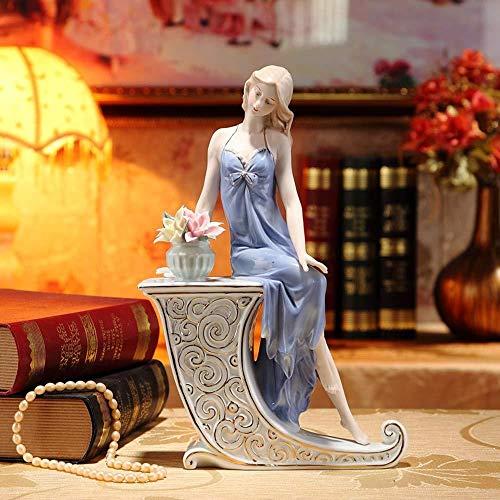 ZWJWJ Scultura Statua in Porcellana Ragazza Scultura personalità Personaggio in Ceramica Modello Bambola Decorazione da Tavolo Artigianato Regalo Soggiorno Camera da Letto Decorazione Domestica