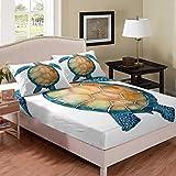 Juego de sábanas con diseño de tortuga marina para niños y adultos, funda de cama con estampado de reptiles en 3D para acuario, marinero, color blanco, para decoración de habitación, tamaño doble
