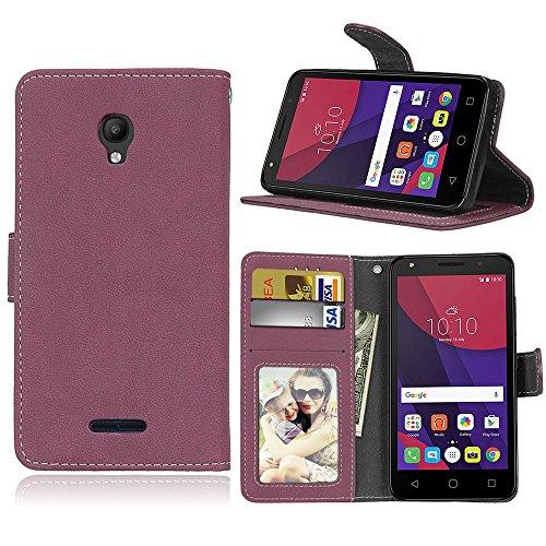 pinlu® Funda para Alcatel OneTouch Pop Star 3G Función de Plegado Flip Wallet Case Cover Carcasa Piel Retro Scrub PU Billetera Soporte con Ranuras Pequeño Rosa roja