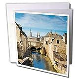 3dRose molino a lo largo del río Weir y ciudad Medieval de Bayeux, Normandía Francia–Tarjetas de felicitación, 6'x 6', Set de 6(GC 227202_ 1)