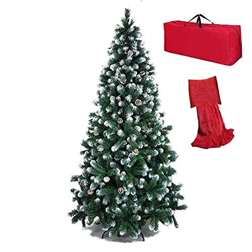 Totò Piccinni Albero di Natale Artificiale NOEL, Folto, Effetto Realistico, Rami a Gancio, Facile Montaggio, PVC, Ignifugo con Borsone (210 cm, Punte Innevate e Pigne)