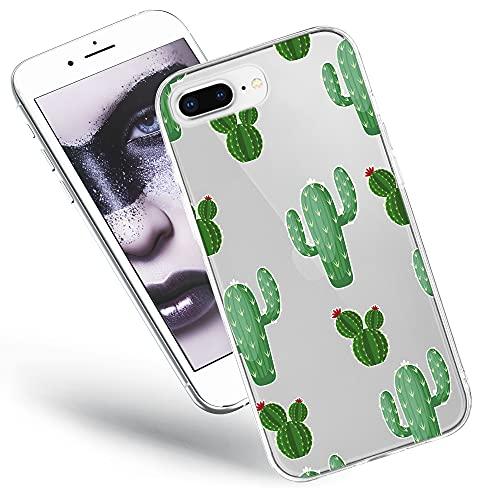 QULT Custodia Compatibile con iPhone 8 Plus iPhone 7 Plus Cover Trasparente con Fiori Silicone Morbido Chiaro Cristallo Anti-Scratch Bumper Case Plus con Disegni con Fiori