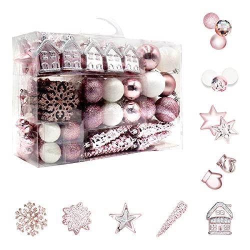 Set di 113 palline per albero di Natale, in plastica, rosa e bianco, decorazioni per albero di Natale, decorazioni per albero di Natale in diverse dimensioni e design rosa e bianco