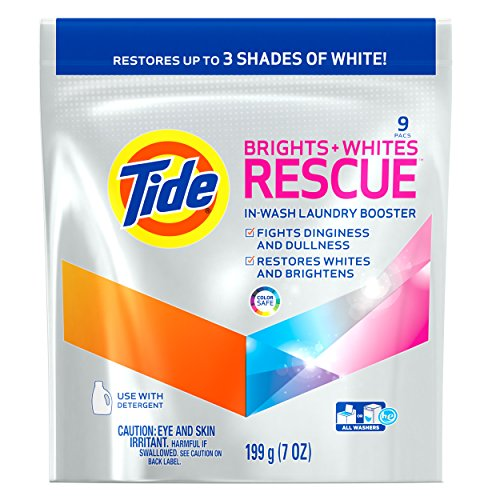 Tide Bright + Whites Rescue In-Wash Laundry Booster Pacs, 9 count