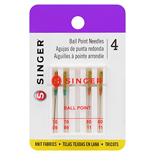 SINGER 4847 Universal Ball Point Machine Needles, Assorted Sizes, 4-Count