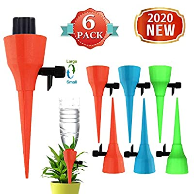 OZMI Plant Self Watering Spikes Devices, 6 Pack Automatic Irrigation Equipment Plant Waterer with Slow Release Control Valve, Adjustable Water Volume Drip System for Home and Vacation Plant Watering from OZMI