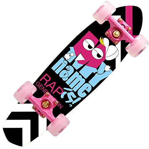 YSCYLY AnfäNger Double Kick Trick Skateboard,7-lagiges Ahornholz-Fischbrett 68 * 18 cm,FüR Kinder Jungendliche Und Erwachsene