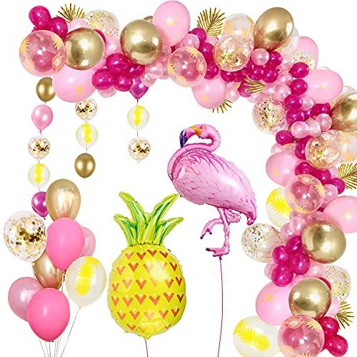 MMTX Balloon Arch Flamingo,102Pcs Decorazione per Feste a Tema Hawaiano Rosa Decorazione Tropicale Hawaiana con Ananas e Fenicottero Rosa con Stampa Foglia Trasparente