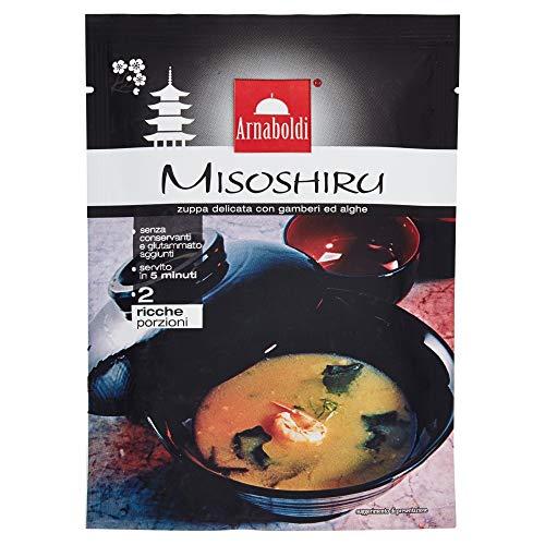 Arnaboldi Zuppa di Miso Giapponese - Zuppa Misoshiru Delicata con Gamberi ed Alghe [3 Confezioni da 59g]