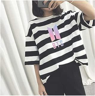 PINGJING K-Pop BTS Bangtan Boys Girl Short-Sleeved Striped T-Shirt Loose Style