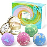 LA BELLEFÉE Bath Bombs and Scented Candles Gift Set Large & Lovely Spa Bomb Fizzers Birthday Mothers Day Gifts Ideal for Her/Him, Wife, Girlfriend(4 x 4.1 oz Bath Bombs + 2 x Scented Candles)