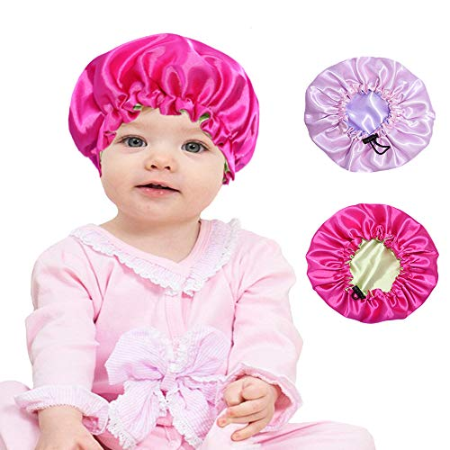 Adjustable Kids Satin Bonnets Sleeping Caps Shower Caps for Girls Boys,Elastic Band and Reversible,Soft,Breathable,Fit Most Kids Head and Hair Style (red,pink)