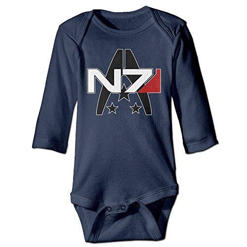 GOOOET Unisex Baby Bodysuit Mass Effect Alliance N7 Logo Long-Sleeve Romper T-Shirt Navy 12 Months