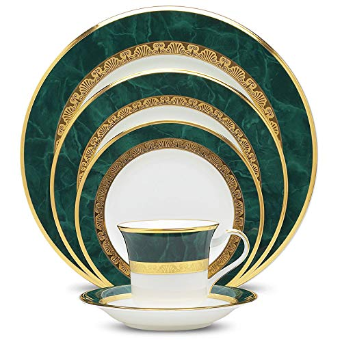 Noritake Fitzgerald 5-Piece Place Dinnerware Setting in Green/White