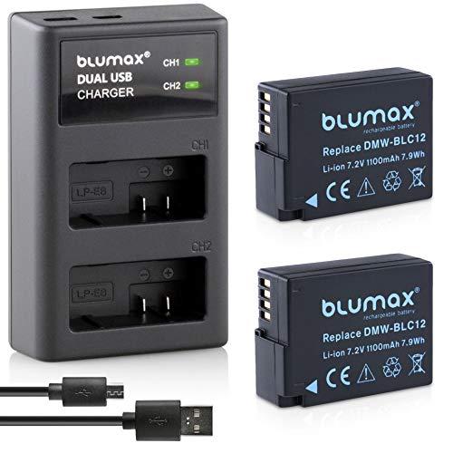 Blumax 2X Akku ersetzt Panasonic DMW-BLC12 / DMW-BLC12-E 1100mAh + USB Dual-Ladegerät USB | kompatibel mit Lumix DMC: G5 | G6 | GX8 | G70 | G81 | GH2 | FZ200 | FZ300 | FZ1000 | FZ2000 | Leica V-Lux 4