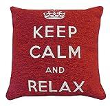 || Jaaz tessile || _ _ rosso & bianco Keep Calm and relax _ _ puro 100% cotone per cuscino, dimensioni 45,7x 45,7cm nascosta cerniera di apertura. Acquistare singolo o set., 100% cotone Cotone, Red & White Keep Calm Relax, Unità singola