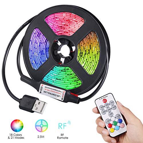 ORIA LED Lichtleiste, 2.5M 75 LED USB TV Hintergrundbeleuchtung, 21 Modi, 18 Farben, Vielseitige Fernbedienung, IP65 Wasserdichte USB-Vorspannungs Beleuchtungssätze für TV, PC, Party, Weihnachten